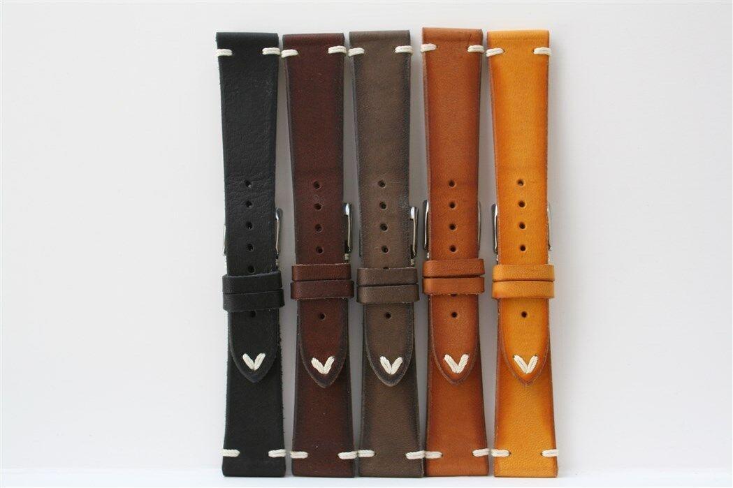 Cinturini Artigianali in Vacchetta spazzolata. Vintage Leather Straps.20mm