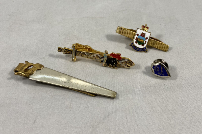 Vintage Tie Clips And US Jaycees Tie Pin