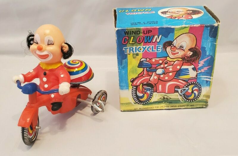 Korea CLOWN Character TRICYCLE MOTORCYCLE Wind-Up Tin Toy SU `60 FABULOUS!