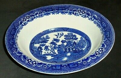 Alfred Meakin Old Willow (Vintage Alfred Meakin  Old Willow Oval Vegetable Serving Bowl Blue Willow 10