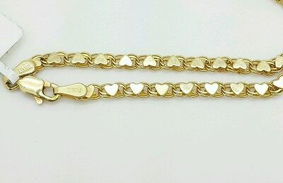 "14k Solid Yellow Gold Heart Link Bracelet Chain 5.5"" 2.9mm  Baby Girl Child"