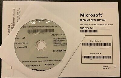 SQL Server Standard 2016  16 Core License Key DVD & COA , Brand New Sealed
