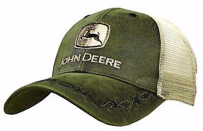 NEW John Deere Olive Green Oilskin Front Cap Tan Mesh Back LP68011