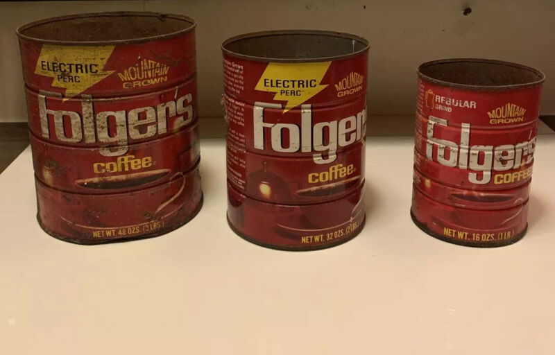 3 Vintage Folgers Metal Coffee Can 1 2 and 3 Lbs Mountain Grown Electric perc
