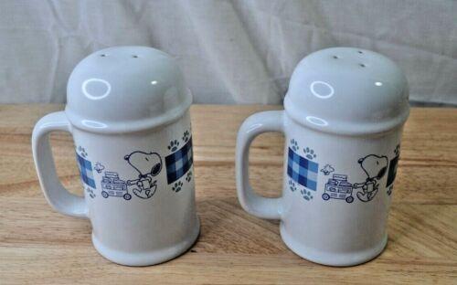 Peanuts Snoopy White/Blue Salt & Pepper Shakers-Treasure Craft W/Box