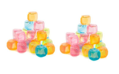 Plastic Ice Cubes Safe (Reusable Ice Cubes 40 Piece Plastic Mixed Colours  Dishwasher Safe Party BBQ)