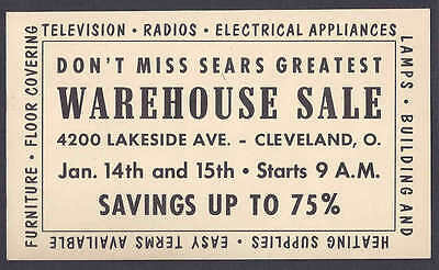 1952 Sears Warehouse Sale Of Appliances Etc Cleveland Oh