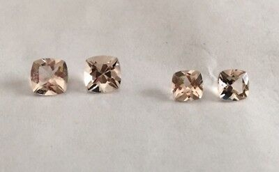 6mm & 5mm pairs of Loose Antique Square Genuine Morganite (qty. 4 stones)