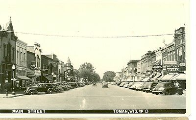 Tomah Wisconsin Main Street Wis Power Light Co Cars Rppc  Rp 1 234