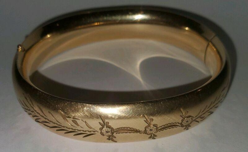"""Antique Victorian 1/20 12k Gold Filled GF Floral Etched Bangle Bracelet 6"""""""