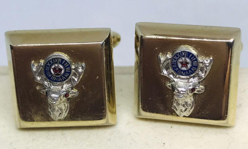 Vintage HICKOK BPOE Elks Club Enamel & Gold Tone Cuff Links Cufflinks Men
