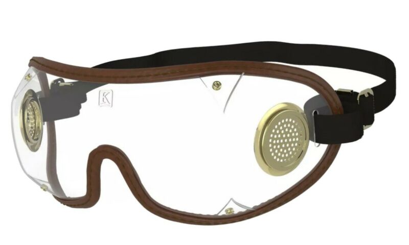NEW- KROOPS ORIGINAL BOOGIE Brass Vented Skydiving Parachute Goggles SHIPS FREE!