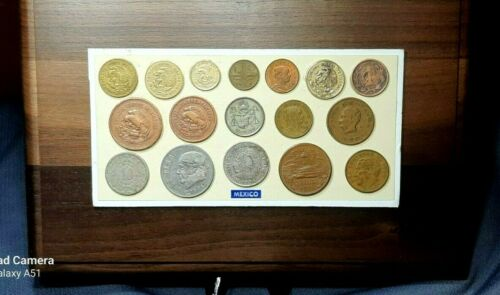 HISPANIC HERITAGE MONTH SALE EVENT--1975 RESTORED 17-COIN MEXICAN PLAQUE