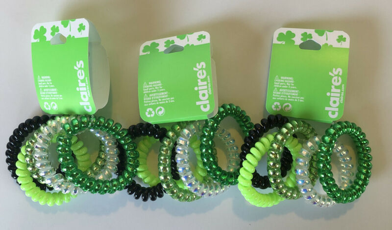Lot Of 3 Claire's St. Patrick's Day Green And White Spiral Bracelets Packs Of 5