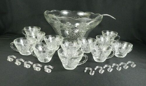 Vtg Anchor Hocking Clear Glass Punch Bowl Set Ladle 12 Cups Grapes Grapevines