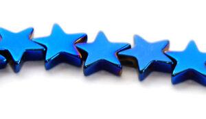 STRAND ELECTRIC BLUE HEMATITE FLAT STAR BEADS, 6 MM, GEMSTONE