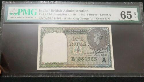 British India - 1 Re - KGVI - 1940  - C.E.Jones - W prefix - A Inset - PMG 65