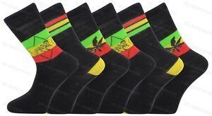 6 Pairs Mens Rasta Rastafarian Print Socks Jamaica Jah Lion Of Judah Weed Ganja