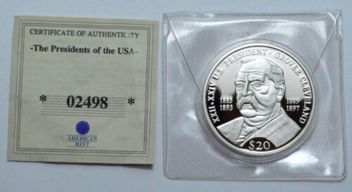 2000 Grover Cleveland Proof  $20 LIBERIA .999 SILVER COIN AMERICAN MINT w/CoA