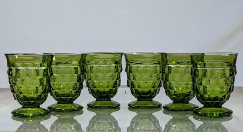 6 Vintage Indiana Colony Avocado Green Footed Whitehall Tumblers Cubist