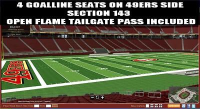 4 SF 49ers Tickets Denver Broncos 12/9 Levi's Stadium LOWER + VIP Green Parking