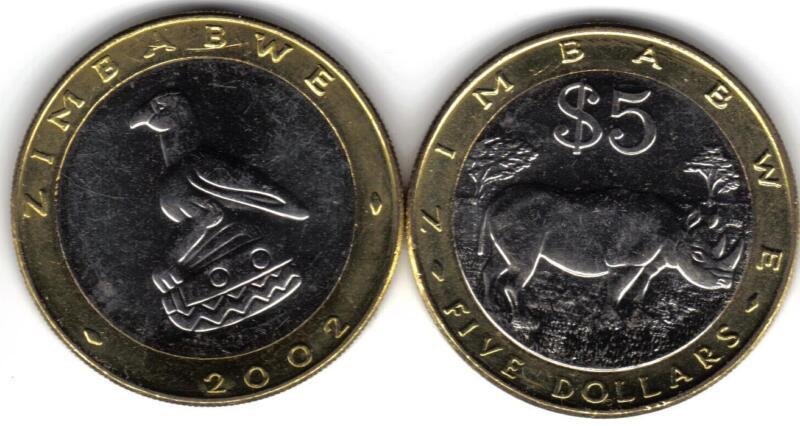 ZIMBABWE  6-PIECE UNCIRCULATED COIN SET, $0.01 TO $5.00
