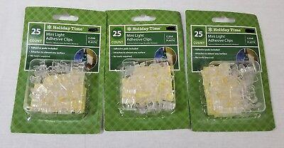 (75) Christmas Mini Light Adhesive Clips (3 pkg of 25) - (Mini Light Adhesive Clip)
