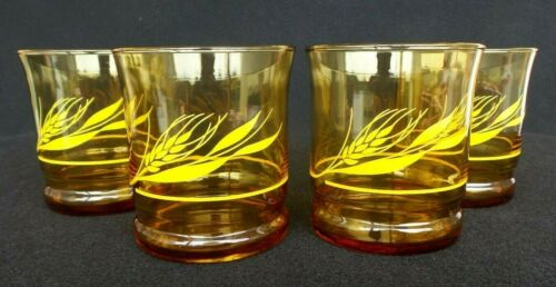 ANTIQUE LIBBEY AMBER GOLDEN HARVEST WHEAT DRINKING GLASSES LOT OF 4