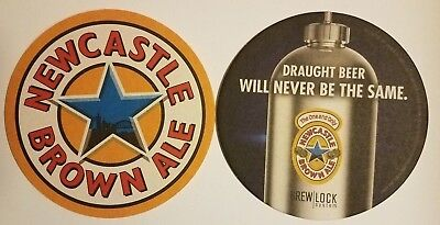 """Newcastle Brown Ale Draught Beer Will Never Beer Coaster 4.25"""" diameter EX cond."""