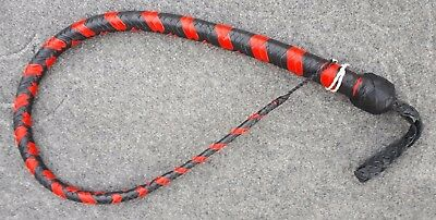 3 Feet Long 12 Plait Genuine Kangaroo Leather Signal whip and Flogger Bullwhip Signal Whip