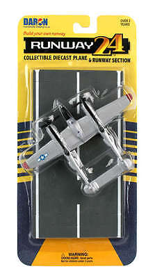 RUNWAY 24 P-38J Lightning - Silver - USAAF Diecast plane with runway section , used for sale  Hazleton