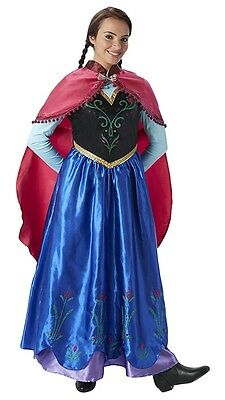 Ladies Blue Anna Frozen Disney Princess Film Fancy Dress Costume Outfit UK (Frozen Film Kostüme)