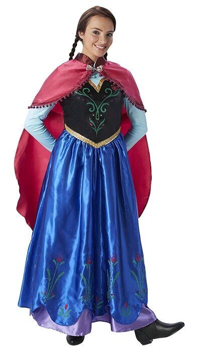 Ladies Blue Anna Frozen Disney Princess Film Fancy Dress Costume Outfit UK  8 18