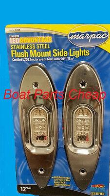 New Marpac Marine LED Flush Side Mount Stainless Steel Bow light Boat Navigation