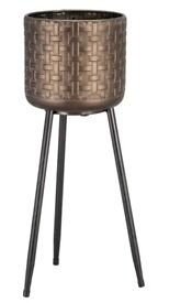 Brand new tall solid metal bronze plant pot on stand 57cm high