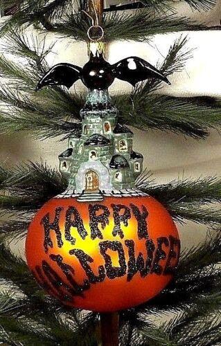 "5"" Happy Halloween/Boo  Bat on Castle/Pumpkin  Blown Glass Tree Ornament  Poland"