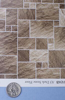 1:12 Brown/Tan Faux Slate Stone Paper Tile Flooring for Dollhouse #SDIY434B