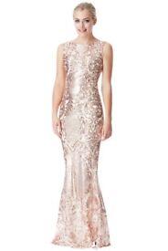 Brocade Print Sequin Maxi Dress - Champagne Size 10