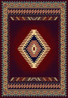 SOUTHWESTERN burgundy LODGE 5X8 bordered multi AREA rug : Actual 5' 3