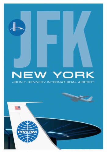 "JA022 JFK WORLDPORT AIRPORT POSTER ART PRINT 14"" X 20"" BY ARTIST CHRIS BIDLACK"