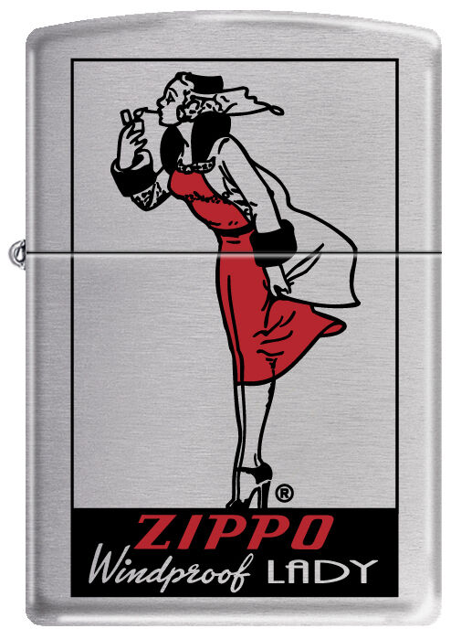 Zippo WINDPROOF LADY Satin Chrome Windy Girl Lighter RARE HARD TO FIND