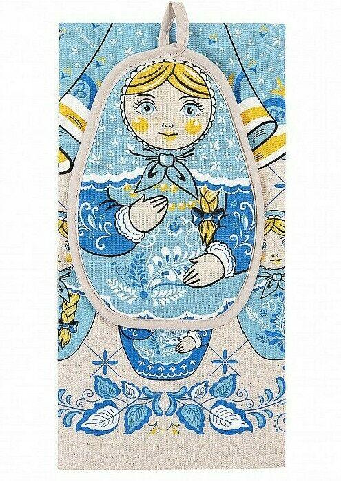 Купить Nesting Doll Kitchen Towel + Potholder Set 100% Natural Cotton Linen Made Russia