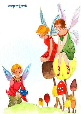 "Art print 2.5""x3.5""-Fairies sitting on mushrooms inspired by Rene Cloke"