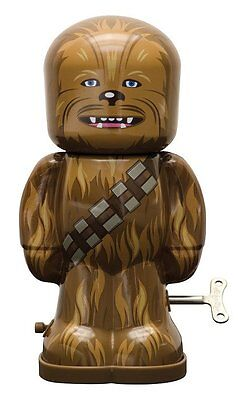"Star Wars Chewbacca Figure 7.5"" Tall Wind Up Tin Toy, NEW UNUSED BOXED"
