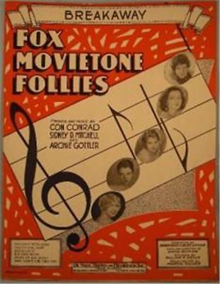 Vintage Sheet Music Breakaway 1929 Fox Movietone Follies Great Cover To Frame