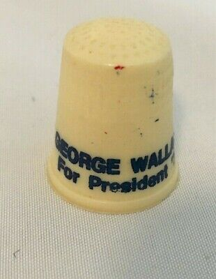 Vintage GEORGE WALLACE FOR PRESIDENT '76 Plastic Advertising Thimble Premium