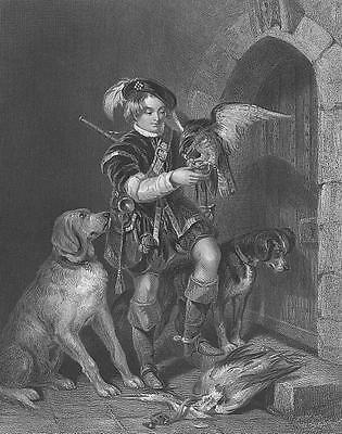 Young Boy HUNTING HOUND DOGS Dead Bird & FALCON HAWK ~ 1858 Art Print Engraving