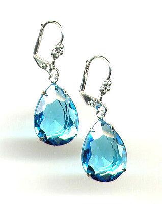 AQUAMARINE AQUA BLUE TEARDROP cut-crystal Pear Earrings Silver Floral Leverbacks