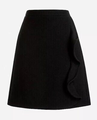 JCrew Mercantile Ruffle Front Mini Skirt In Double Serge Wool size 4