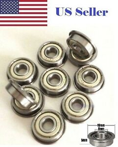 10 PCs F688zz Mini Metal Double Shielded Flanged Ball Bearings (8mm*16mm*5mm)